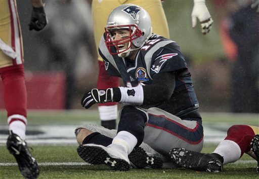 New England Patriots quarterback Tom Brady (12) reacts after being tackled short of the goal line in the fourth quarter an NFL football game against the San Francisco 49ers in Foxborough, Mass., Sunday, Dec. 16, 2012. (AP Photo/Steven Senne) Gillete Stadium