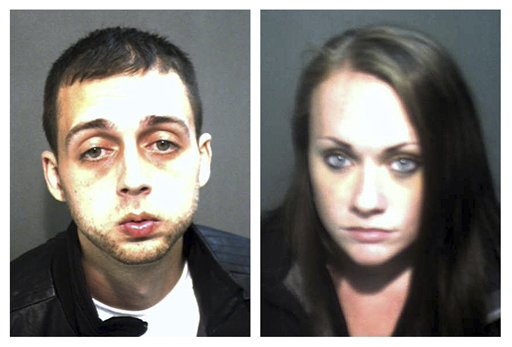 Booking photos of Roland Dow, left, and Jessica Linscott, of Plaistow, N.H., who were arrested last Wednesday at Universal Studios in Orlando, Fla., after two weeks on the run.