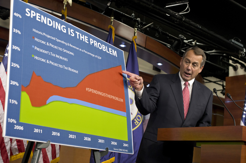 House Speaker John Boehner of Ohio points to a chart to emphasize his talking point that government spending complicates negotiations on avoiding the so-called