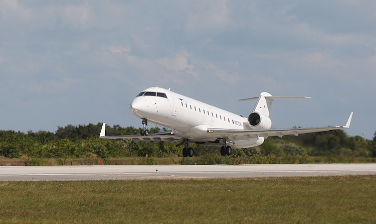 Elite Airways' currently uses two 50-seat CRJ-200 regional jets like this to operate charter flights for college sports teams. The airline is hoping to add a 70-seat regional jet and a Boeing jet, either a 737 or 757.