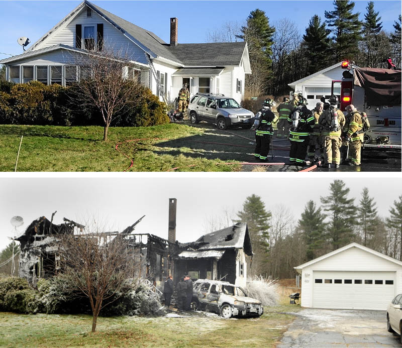 The top photo was taken around 1 p.m. Friday after firefighters extinguished a blaze at 283 Spring Road in Augusta. The bottom photo shows the same home this morning as fire marshals investigate after it burned down in a second fire overnight.