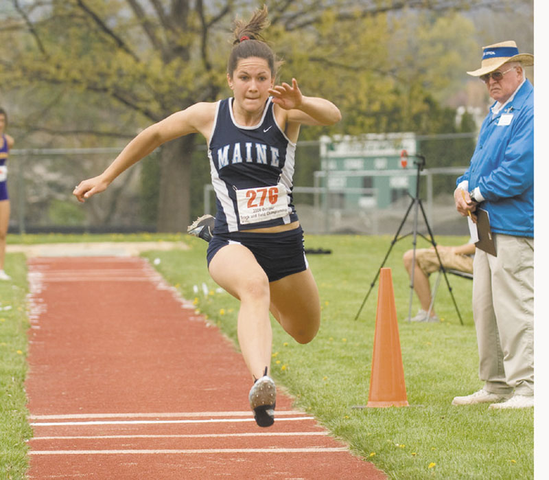 MAKING BIG LEAPS: Messalonskee high School graduate Jesse Labreck is preparing for her final season of indoor track and field at the University of Maine. Her coach, Mark Lech, calls her the best female athlete in the state of Maine