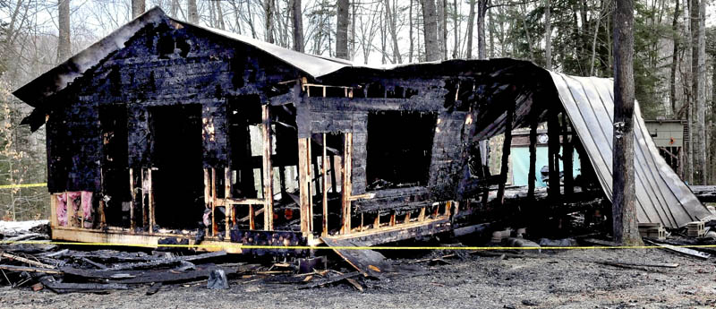 A camp located on a wooded section of the Notch Road in Skowhegan was destroyed by fire on Saturday.