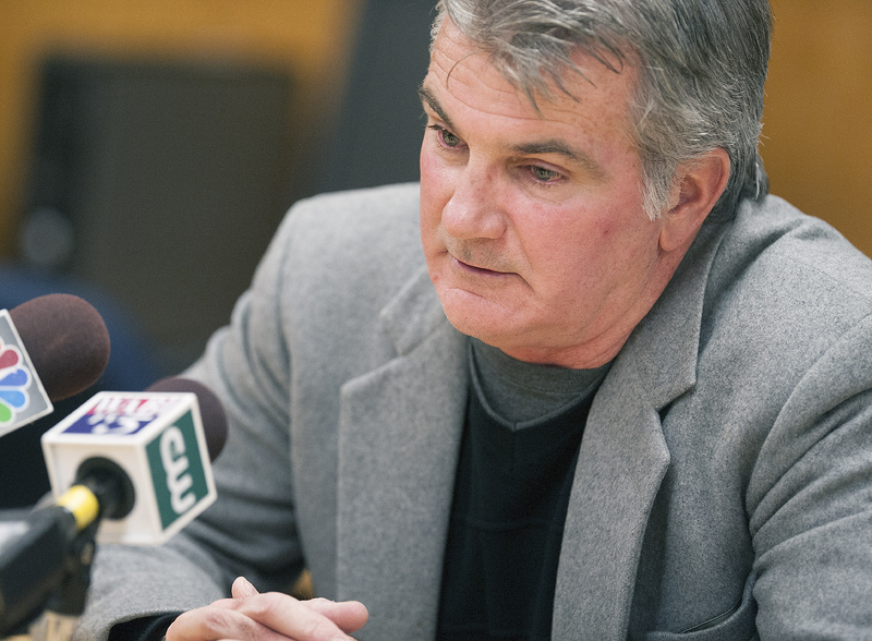 UMaine head football coach Jack Cosgrove composes himself as he speaks to members of the media Saturday regarding the announcement of the death of former UMaine player Jovan Belcher, 25, of an apparent self-inflicted gunshot Saturday morning in Kansas City, Mo.