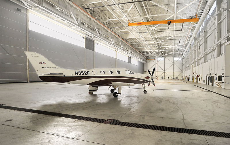 Kestrel Aircraft Co. is leasing hangar space at Brunswick Landing to manufacture turboprops like this one. The Midcoast Regional Redevelopment Authority has been paying Kestrel's property taxes under protest.