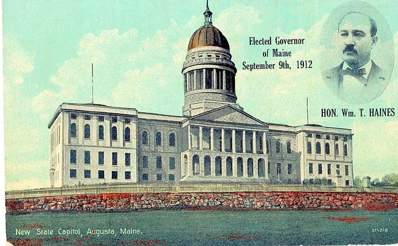 A postcard shows the State House in Augusta, as it appeared during Gov. William T. Haines' tenure.