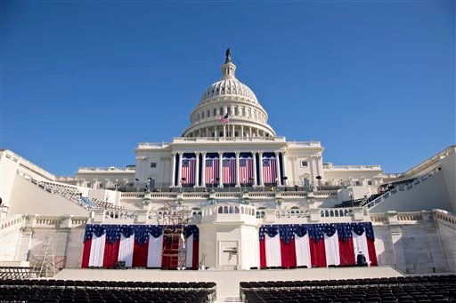 The West Front of the Capitol in Washington is dressed in red, white and blue, with two days to go before the 57th Presidential Inauguration and President Obama's second inauguration, on Saturday.