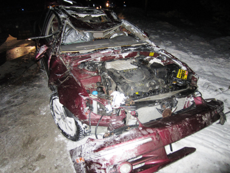 A 2003 Hyundai Sonata four-door sedan was destroyed in a crash early Wednesday morning that killed the driver, Joshua Lavine, 31, of Wilton.