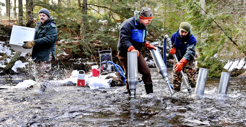Department of Marine Resources biologist Jason Overlock, right, drills a redd for salmon roe Tuesday, as his colleague, Jason Bartlett, center, places a funnel for biologist Paul Christman, left, to insert Atlantic salmon eggs into the bed of the Sheepscot River in Palermo. DMR is using a novel technique, of blasting the bottom of the river with a high-pressure hose, to create the proper environment for inseminated eggs to hatch.