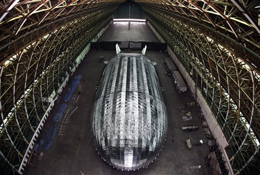 The massive blimp-like airship being built by Worldwide Aeros in a WWII-era blimp hangar at the former Marine Air Station in Tustin, Calif.