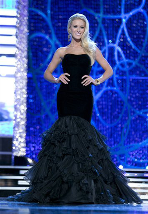 Miss D.C. Allyn Rose competes during the evening wear portion of preliminary competition at the 2013 Miss America Pageant in Las Vegas on Tuesday.