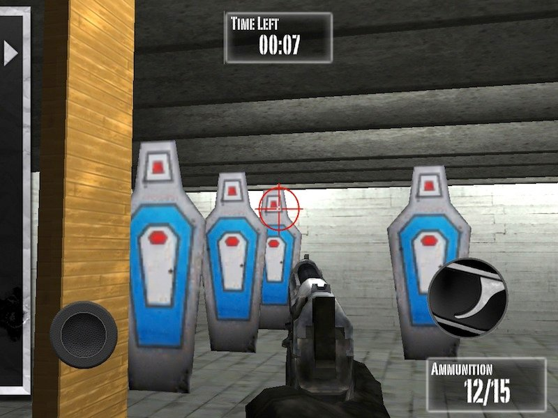 This is a screen grab of new shooting a game for mobile devices tied to the National Rifle Association. This game is no longer being labeled suitable for preschoolers.