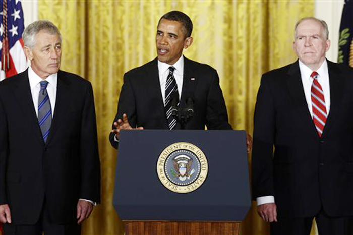 President Barack Obama announces at the White House on Monday that he is nominating Deputy National Security Adviser for Homeland Security and Counterterrorism, John Brennan, right, as the new director of the CIA, and former Nebraska Sen. Chuck Hagel, left, as the new defense secretary.