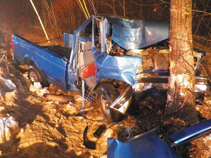 The 1993 Ford F-150 pickup truck involved in a single-vehicle crash Saturday afternoon in Readfield, which killed Gabriel Soucy, 20, of Mount Vernon, and injured a 17-year-old Wayne driver, is pictured.