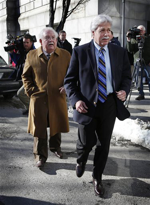 Mark Strong Sr., right, and his attorney, Dan Lilley, leave the Cumberland County Courthouse. Lilley's motion to withdraw from the case was denied on Friday.