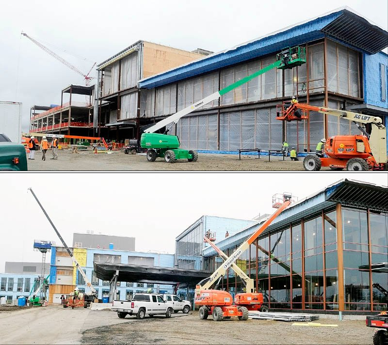 The top photo shows the front entrance of the new MaineGeneral regional hospital on May 22 in North Augusta. and the bottom one shows the same side of the new MaineGeneral regional hospital on Dec. 4.