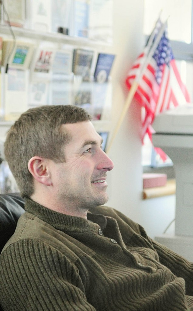 Charles Thompson, an Army veteran from Freeport, talks with reporters at the Veteran's Lounge in the Randall Center at University of Maine at Augusta Thursday.