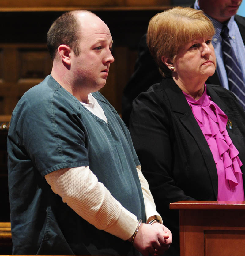 Matthew Partridge, left, and his attorney, Pamela Ames, appear in Kennebec County Superior Court Wednesday in Augusta.