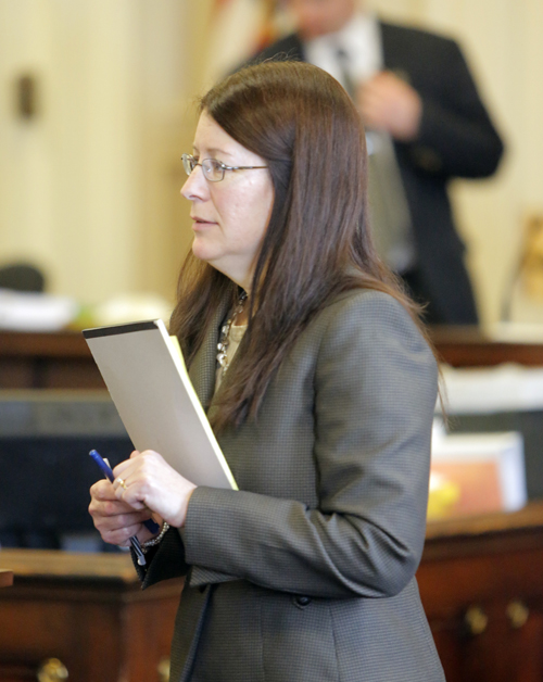Deputy District Attorney Justina McGettigan argues Tuesday against a motion by the defense to sever the 13 remaining counts against Mark Strong Sr. from the 46 dismissed counts that are on appeal at the Maine Supreme Judicial Court.