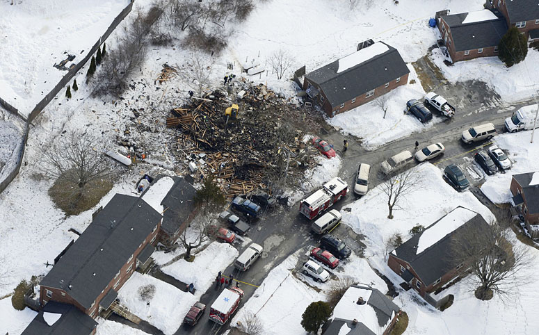 What remains of the duplex at 31-29 Bluff Road, following a suspected propane gas explosion Tuesday morning.