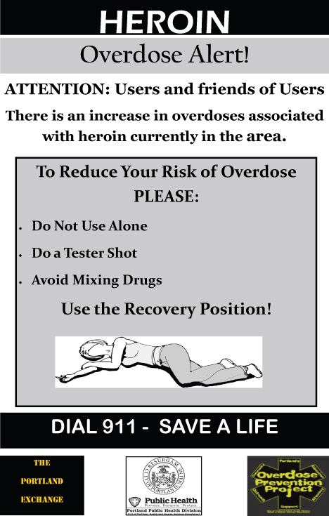 The city's posters alert users to heroin dangers and suggest ways to lessen the chances of a fatal overdose.