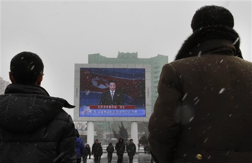 On a large television screen in front of Pyongyang's railway station, a North Korean state television broadcaster announces the news that North Korea conducted a nuclear test on Tuesday.