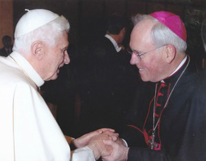 Pope Benedict XVI and Bishop Richard Malone in a November 2011 photo.