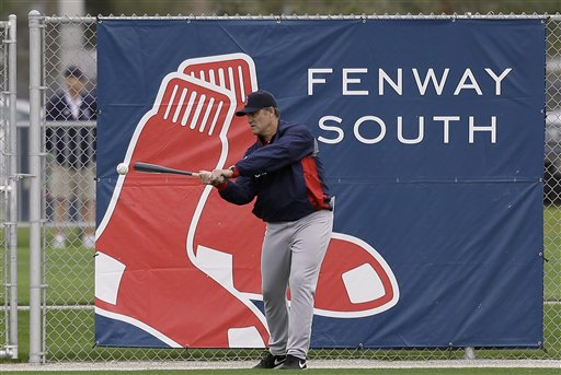 Boston Red Sox manager John Farrell hits a ball back to the infield during a spring training baseball workout Friday, Feb. 15, 2013, in Fort Myers, Fla. (AP Photo/Chris O'Meara)