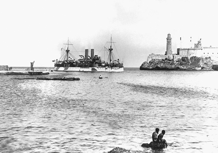 The USS Maine entering Havana Harbor, January 1898.