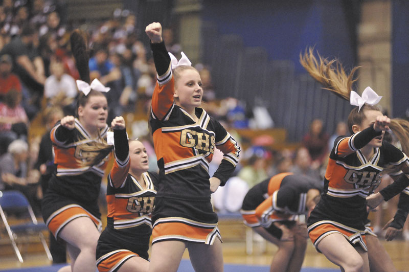 GIVE A CHEER: Gardiner performs its routine during the Class B state cheering championshps on Monday at the Bangor Auditorium.