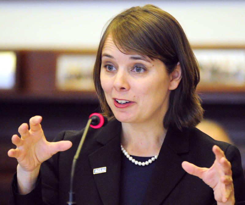 Shenna Bellows, executive director of the American Civil Liberties Union of Maine, testifies in favor of L.D. 236, An Act To Protect the Privacy of Citizens from Domestic Unmanned Aerial Vehicle Use, before the Judiciary Committee on Tuesday at the State House in Augusta.