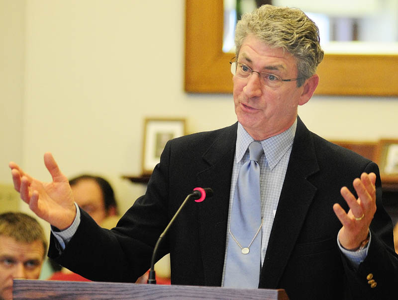 Deputy Attorney General William Stokes, head of the criminal division, testifies during a public hearing on L.D. 236, An Act To Protect the Privacy of Citizens from Domestic Unmanned Aerial Vehicle Use, before the Judiciary Committee on Tuesday at the State House in Augusta.