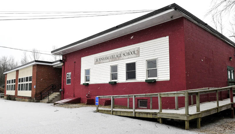 The closed Burnham Village School on Wednesday. Town officials are still discussing how to utilize the building after voters approved using it as a town office.