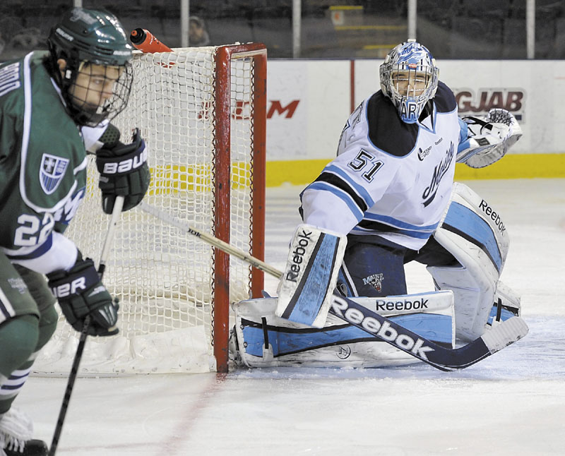 EMERGING STAR: Martin Ouellette (51) started the year as the backup for the University of Maine men's hockey team. Now he's a starter and a reason for the Black Bears to remain positive during a rough season.