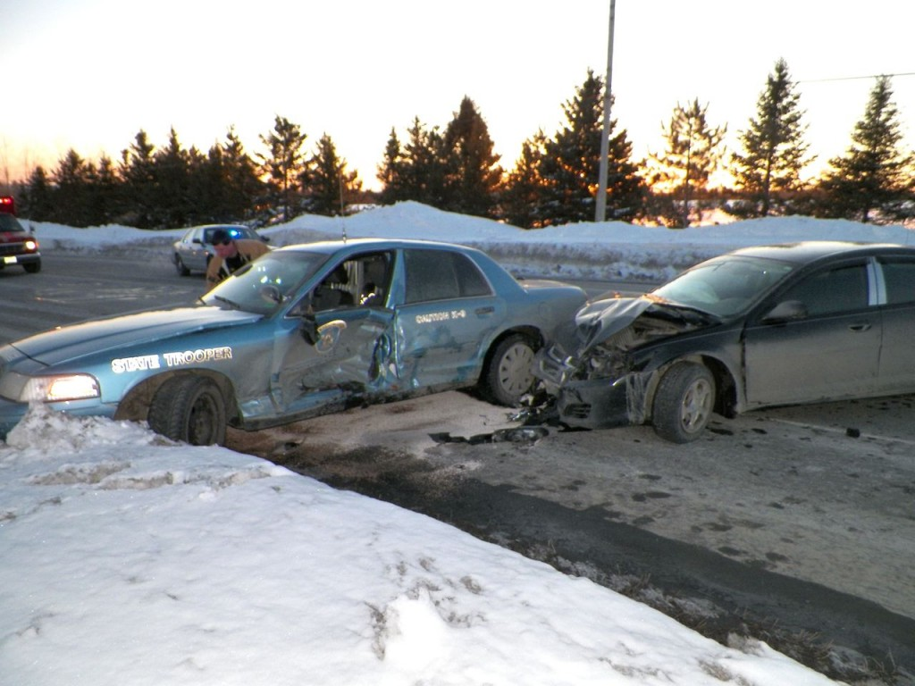 The scene after Monday's collision on Route 1 in Presque Isle. Photo provided by the Maine State Police.