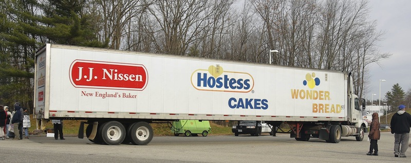 A truck enters the Hostess plant in Biddeford shortly before the business shut down in this Friday, Nov. 16, 2012, file photo.