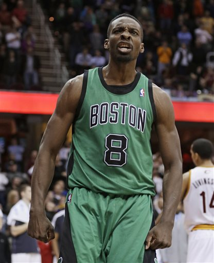 Boston Celtics' Jeff Green reacts after scoring the game-winning basket during the fourth quarter of an NBA basketball game against the Cleveland Cavaliers on Wednesday, March 27, 2013, in Cleveland. Boston won 93-92. (AP Photo/Tony Dejak) Quicken Loans Arena