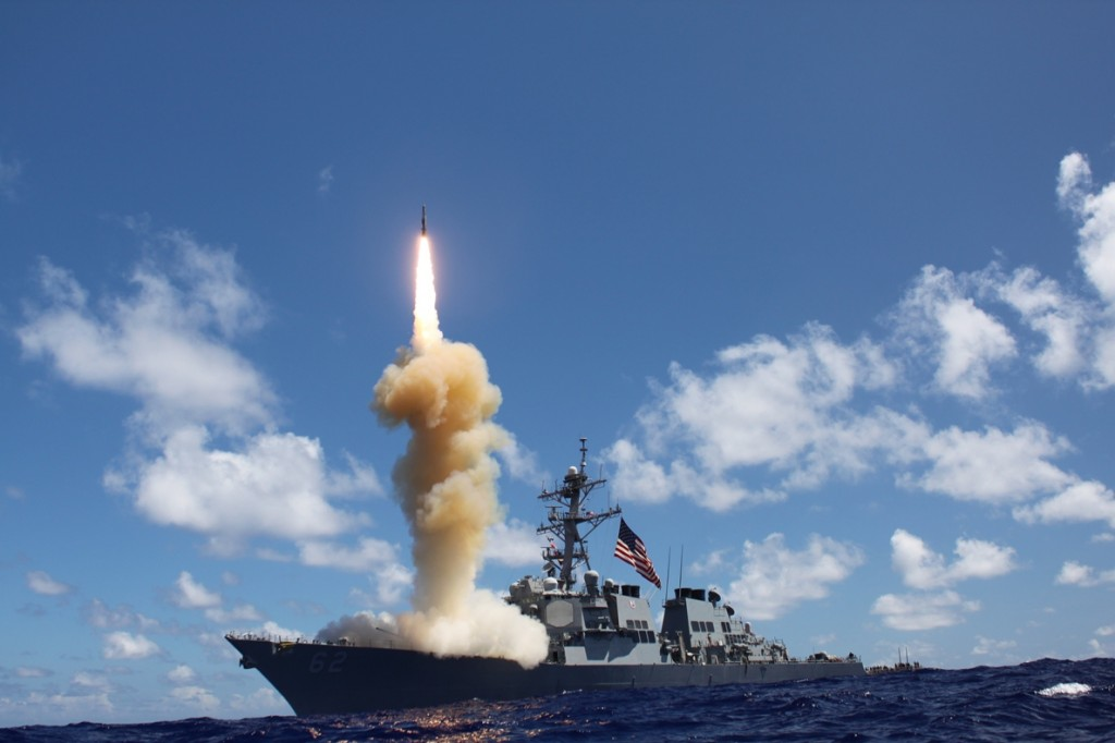 In this October 2012 file photo, the guided-missile destroyer USS Fitzgerald launches a Standard Missile-3 as part of a joint ballistic missile defense exercise in the Pacific Ocean. A site in northern Maine may be on the short list of potential locations for a missile defense system designed to knock down nuclear warheads bound for the United States.