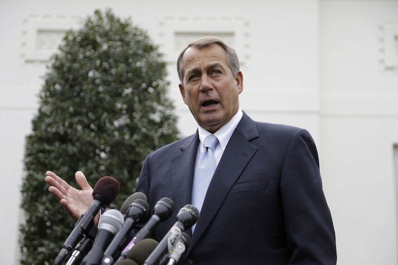 House Speaker John Boehner of Ohio speaks to reporters outside the White House in Washington, Friday, March 1, 2013, following a meeting with President Barack Obama and Congressional leaders regarding the automatic spending cuts. (AP Photo/Carolyn Kaster)
