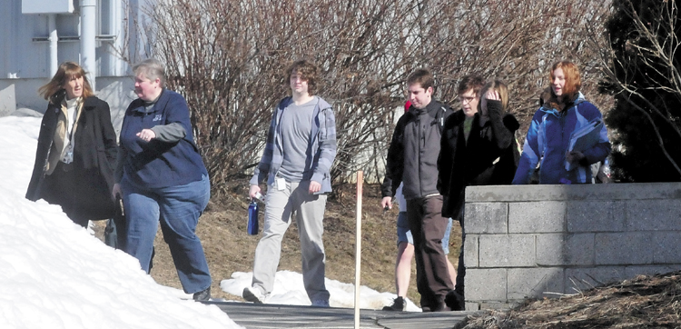 Students were evacuated from the campus at Kennebec Valley Community College in Fairfield on Tuesday, after the word