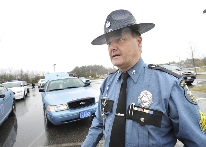 Maine State Police Sgt. Michael Edes led police officers from across Maine to drive to Cambridge on Wednesday to honor slain Massachusetts Institute of Technology police officer Sean Collier.