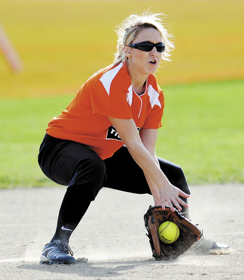 TWO HANDS: Gardinerl's Lilly Chepke grabs a grounder against Nokomis on Monday in Gardiner.