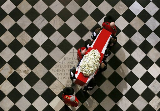 The coffin containing the body of former British Prime Minister Margaret Thatcher arrives for the ceremonial funeral at St Paul's Cathedral in London on Wednesday.