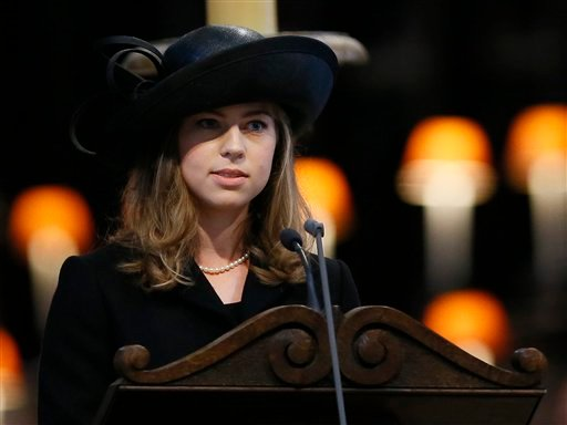 Amanda Thatcher, granddaughter of former British Prime Minister Margaret Thatcher, delivers a reading during the funeral service in St Paul's Cathedral in London on Wednesday.