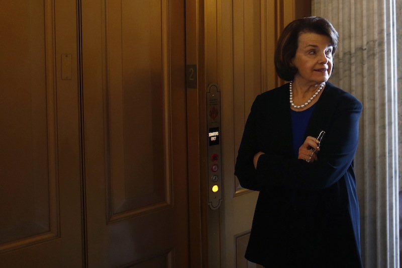 Sen. Dianne Feinstein, D-Calif. waits for an elevator on Capitol Hill in Washington, Wednesday, April 17, 2013, after speaking about gun legislation on the Senate floor. A bipartisan effort to expand background checks was in deep trouble Wednesday as the Senate approached a long-awaited vote on the linchpin of the drive to curb gun violence. (AP Photo/Charles Dharapak)