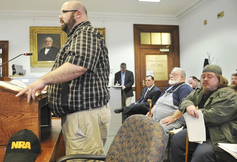 Tim Grimmel of Sabuttus testifies against a bill that would restrict the size of ammunition clips Monday April 8, 2013 at the State House in Augusta.