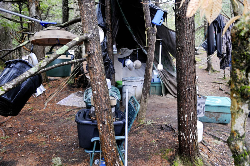 Staff photo by Andy Molloy Christopher Knight's camp Tuesday April 9, 2013 in a remote, wooded section of Rome. Police believe Knight, who went into the woods near Belgrade in 1986, was a hermit who committed hundreds of burglaries to sustain himself.