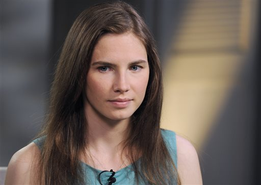 This April 9, 2013, photo released by ABC shows Amanda Knox during the taping of an interview with ABC News' Diane Sawyer in New York.