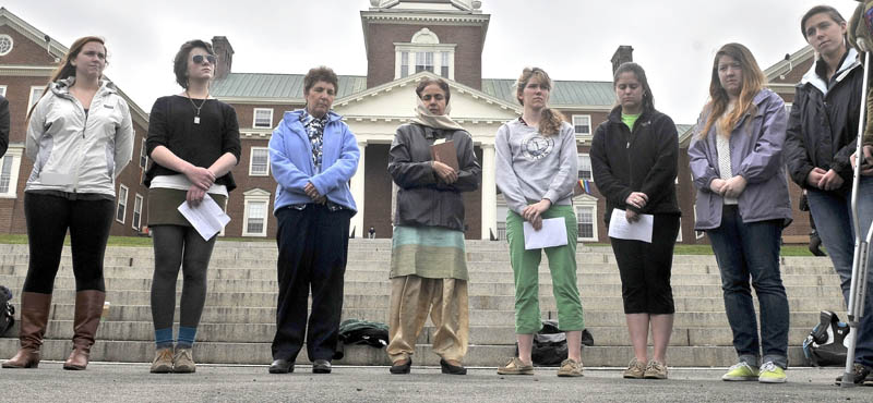 Students and faculty reflect on the attacks in Boston last week during an informal service organized by Kurt Nelson, dean of religious and spiritual life at Colby College Wednesday afternoon.