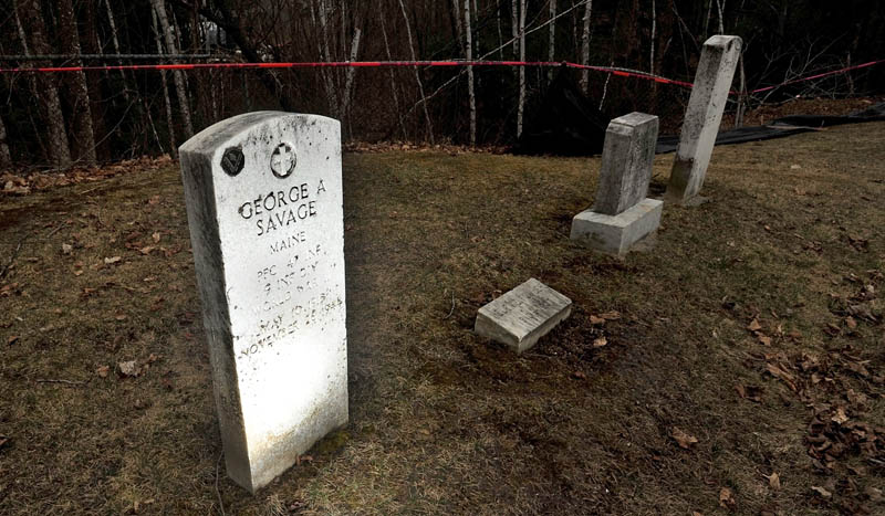 The grave of George Savage, who was killed in action in Germany during World War II and buried in Belgium for four years before being brought back to the United States. Savage's grave is once again in jeopardy at North Cemetery in Skowhegan, this time due to erosion.